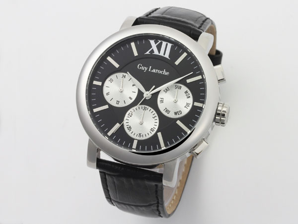 Guy Laroche ギラロッシュ マルチファンクション メンズ 腕時計 GS1402-02 ブラック×シルバー レザーベルト-1