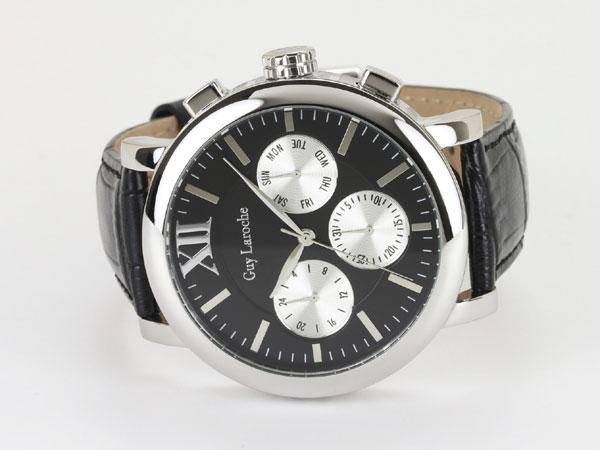 Guy Laroche ギラロッシュ マルチファンクション メンズ 腕時計 GS1402-02 ブラック×シルバー レザーベルト-2
