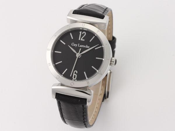 Guy Laroche ギラロッシュ クオーツ レディース 腕時計 L1008-02 ブラック×シルバー レザーベルト-1