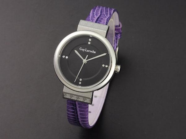 Guy Laroche ギラロッシュ ジルコニア クオーツ レディース 腕時計 L5004-02 ブラック×パープル レザー-1