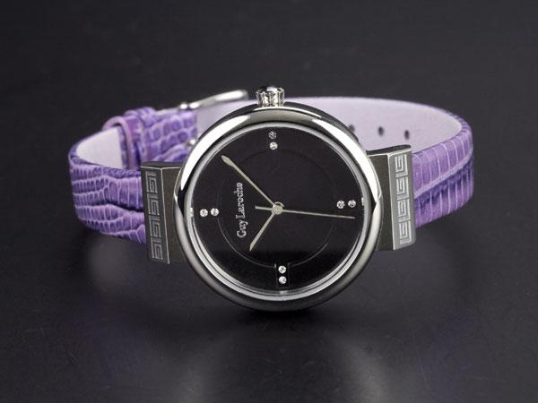 Guy Laroche ギラロッシュ ジルコニア クオーツ レディース 腕時計 L5004-02 ブラック×パープル レザー-2