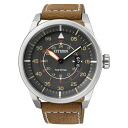 Citizen CITIZEN overseas model eco-driving Aviator mens watch AW1360-12H grey / brown leather