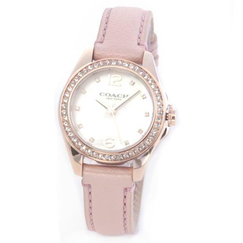 コーチ 煌びやかなラインストーンとホワイトシェルダイヤルの輝き。ラグジュアリーなレディス腕時計。 14502176-1