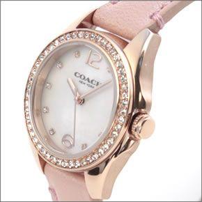 コーチ 煌びやかなラインストーンとホワイトシェルダイヤルの輝き。ラグジュアリーなレディス腕時計。 14502176-2
