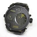 Diesel radar search gimmick index display, black series leather watch ☆ 4 time display DZ7296