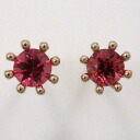 Eight K18PG red spinel milk crown nail pierced earrings (there is no 0.9mm in width core, catch)