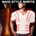 Two cod's! 1 piece 5 pieces bonus ♪ in posture correction + West pressing in ultimate style! Diet slim workout T shirt inner clamping tai T shirt fasten-tai-T shirt