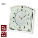 Small clocks HW588W charm is sticking clocks (radio) quartz movement Seiko emblem neat and clean and friendly impression to complement the mother-of-Pearl decorations