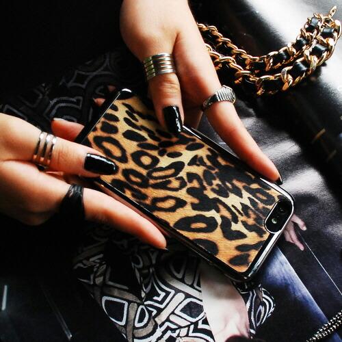 【iPhone6 ケース】 GAZE Leopard Calf Hair Bar(レオパードカーフヘアーバー)