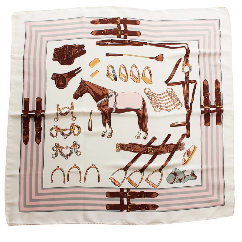 ホース&サドリー(馬具)柄 プチスカーフ