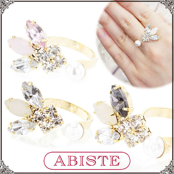 ABISTE(アビステ) GINGER mirror掲載!ビジューフォークリング/ホワイト、ピンク、グレー 6150063-