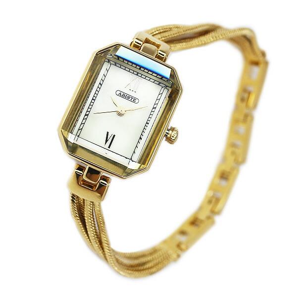 ABISTE(アビステ) スクエアフェイス4連チェーンベルト時計/ピンクゴールド、ゴールド、ブラウン、Sブラック 9400012