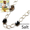 Onyx & Smokey Quartz long necklace fs2gm