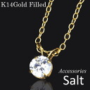 One CZ( cue BIC zirconia) pendant K14GF necklace