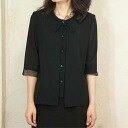 Product made in summer black formal wearing clothes one over another-like overYork blouse summer clothing Japan 8012