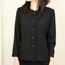 Product made in hem race black formal blouse Japan 8700