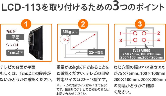 LCD-113を取り付けるための3つのポイント