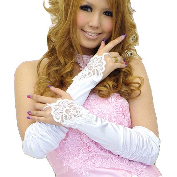 ビーズ装飾グローブ☆指ぬきレース装飾ギャザーグローブ☆ドレスとご一緒に!!(レディース)