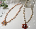 Two types of flower motif pearl necklace - ♪~ point 05P12oct10 to double where fresh water real pearl & nature stone use ★ is luxurious