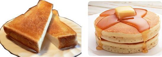 トーストとホットケーキ