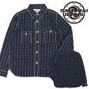 "Shuriken-Wabash work shirt /Lot.SGNS14-L-INDIGO s JEANS SAMURAI / Samurai jeans."""