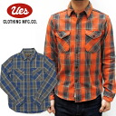 UES (WES) dyed channel block check shirt ( Heavy flannel shirt)/Col.ORANGE/BLUE/Lot.501452 made in Japan ■ ■