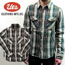 UES (WES) dyed channel block check shirt ( Heavy flannel shirt)/Col.GREEN/PURPLE/Lot.501453 made in Japan ■ ■