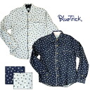 "BLUE TRICK (blue trick) sum pattern collar band W gauze long sleeves shirt ""small cherry tree"""