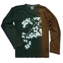 "Indigo persimmon juice-dyed hemp cotton T shirt ""red leaves"" HEMP COTTON natural dyes"