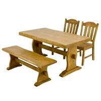 【全商品ポイント10倍!!】浮造りダイニングテーブル 幅135cm 椅子2脚 ベンチ 幅120cm 4人用 食卓テーブル ベンチ 椅子2脚セット 天然木製 ♪