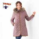 Quilting long jacket #SS-8373 long coat with the the smock shop fur