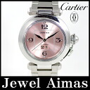 Cartier Pasha C big date W31058M7 pink dial SS stainless steel ladies quartz