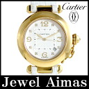 Cartier Pasha 32 mm 8 p diamond date back scale silver character machine YG yellow gold pure gold ladies boys automatic winding