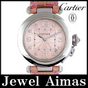 Cartier Pasha 35 mm 8 p Diamond Pink letter Board WG white gold pure gold genuine leather strap D buckle ladies automatic winding