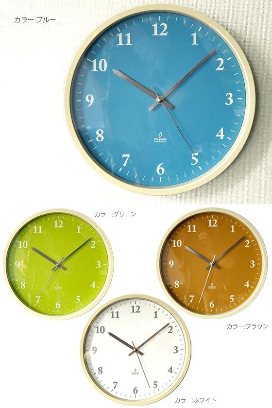 掛け時計 壁掛け シンプルウォールクロック N*clock〔エヌ クロック〕 ホワイト ブルー グリーン ブラウン