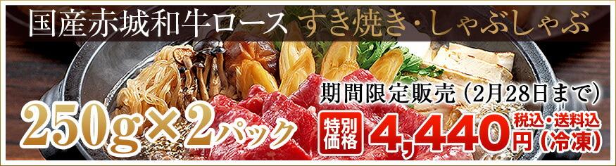 赤城和牛ロースすき焼き・しゃぶしゃぶ500g(250g×2パック)