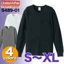 5.6-Ounce waffle Henry neck long sleeve T shirt (S-XL) / United sure UNITED ATHLE #5489-01 plain