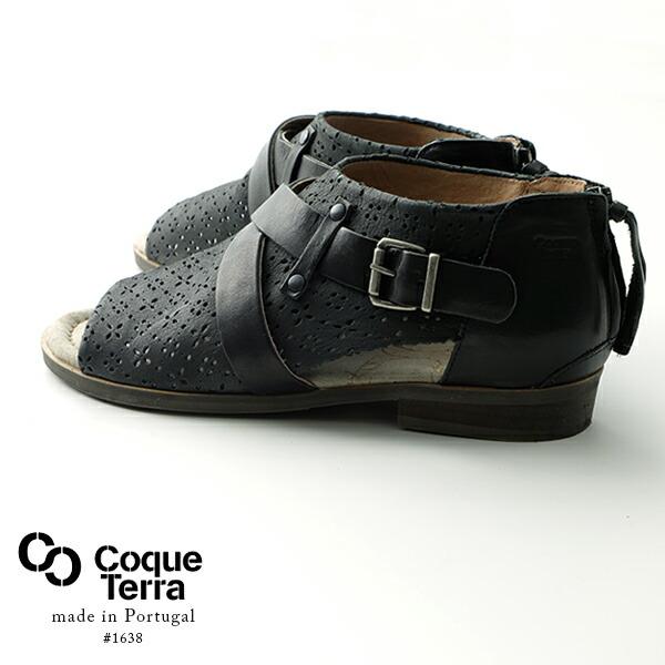Coque Terra オープントゥ フラットサンダル ブーツサンダル