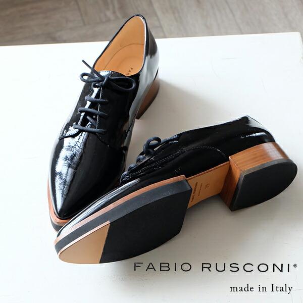 FABIO RUSCONI ファビオ フラット rレースアップシューズ エナメル ブラック