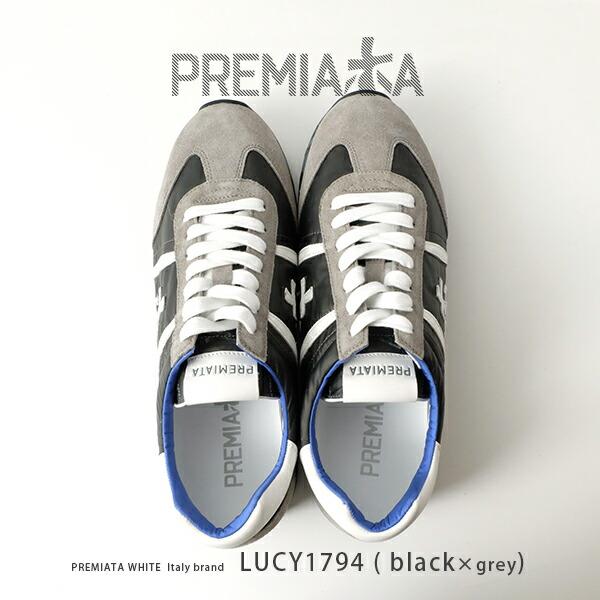 PREMIATA WHITE プレミアータ ホワイト / プレミアータホワイト ブラック スニーカー 本革 レザースニーカー pre-lucy1794