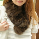 Review book きますで Fox & raccoon fur patchwork (large size) tippet muffler color (scarf) ■ stall
