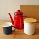 SATO 법랑 선물 세트 색상을 선택할 수 있는 선물 세트 ♪ 커피 냄비/용기/머그컵 레드 화이트 블루에서 좋아하는 색깔을 선택할 수 있습니다 조합 자유!