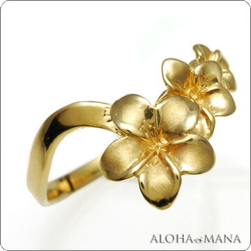 gold plumeria ring by Aloha Mana :  modern hawaiian gold plumeria