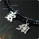 Hawaiian jewelry necklace initial black spinel, ペアネックレス SILVER925 fpd3142pair