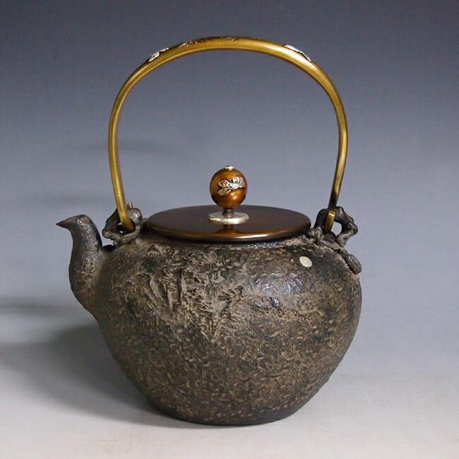 tb196, 龟文堂模本 田园风景 温馨一家图 壶身和摘手:银镶嵌 银座 约1