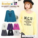 ※The classic print of big size Lady's tops ■ college logo print long sleeves cut-and-sew casual clothes! ■マリリンオリジナルカットソーカットソ - cut-and-sew - CUT SAW LL 3L 4L 13 15 17 [[HM-0049]] Slightly bigger