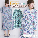 * M-large size ladies one piece ■ floral print long sleeves hoodies long one piece ■ original one piece dress-Su one-piece - Su one-piece free M L LL 3 l 11, 13, 15, larger [[K400335]]