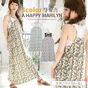 * L-large size ladies one piece ■ hibiscus pattern race switching sleeveless Maxi dress ■ dress Maxi dresses Maxi-length dress Maxi L LL 3 l 11, 13, 15, larger [[IZM333395]]