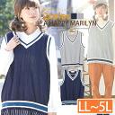 Large size ladies best ■ V neck cable knitting color line best Tilden knit ■ tennis sweater best original oversized VEST LL 3 l 4 l 5 l 13, 15, 17, 19, [[430119]]