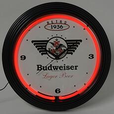 バドワイザー ネオンクロック レトロ 壁掛時計